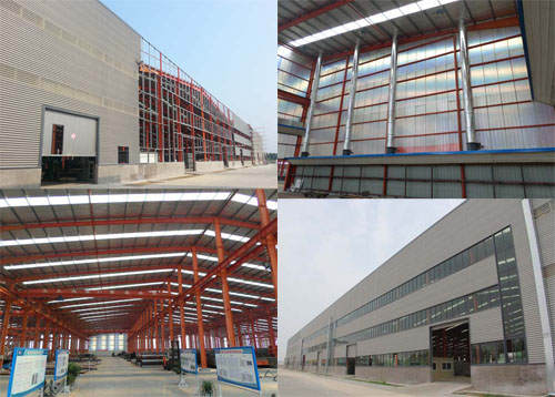 different views of our new factory steel workshop building, including installation steps, interior insulation and steel frame, finished plan