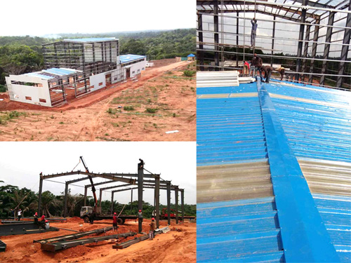 steel structure prefabricated workshop, steel structure frame install, roof cladding and roof skylight