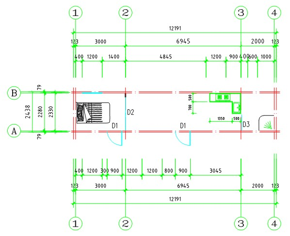 plan view of shipping container house