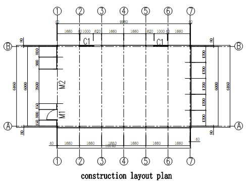 construction layout of prefabricated house used as garage/carport