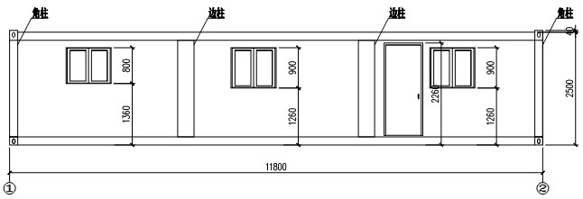 Front elevation of flat packing container house