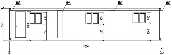 back elevation of flat packing container house